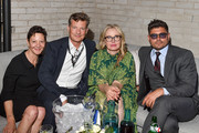 """( L-R) Gabrielle Tana, Malte Grunert, Julie Delpy and Andrew Levitas attend the RBC Hosted """"My Zoe"""" Cocktail Party At RBC House Toronto Film Festival 2019 on September 07, 2019 in Toronto, Canada."""