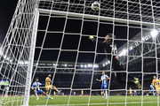 Arturo Vidal of FC Barcelona scores his team's second goal past Diego Lopez of Espanyol during the La Liga match between RCD Espanyol and FC Barcelona at RCDE Stadium on January 04, 2020 in Barcelona, Spain.