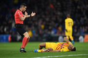 Luis Suarez of FC Barcelona reacts after being fouled during the La Liga match between RCD Espanyol and FC Barcelona at RCDE Stadium on January 04, 2020 in Barcelona, Spain.