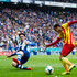 Pedro Rodriguez Photos - Pedro Rodriguez (R) of FC Barcelona plays the ball close to Diego Colotto of RCD Espanyol during the La Liga match between RCD Espanyol and FC Barcelona at Cornella-El Prat Stadium on March 29, 2014 in Barcelona, Spain. - RCD Espanyol v FC Barcelona - La Liga