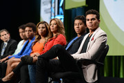 REELZ SVP of Development & Current Programming, Rob Swartz, Jaafar Jackson, Donte Jackson, Genevieve Jackson, Alejandra Jackson, Jermajesty Jackson and Randy Jackson Jr. speak on stage at the Reelz Channel 'Living With The Jacksons' panel at the 2014 Summer Television Critics Association at The Beverly Hilton Hotel on July 12, 2014 in Beverly Hills, California.