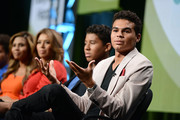Jaafar Jackson, Donte Jackson, Genevieve Jackson, Alejandra Jackson, Jermajesty Jackson and Randy Jackson Jr. speak on stage at the Reelz Channel 'Living With The Jacksons' panel at the 2014 Summer Television Critics Association at The Beverly Hilton Hotel on July 12, 2014 in Beverly Hills, California.