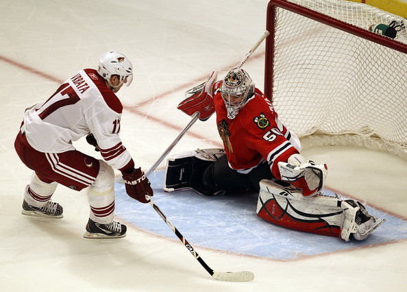 Corey Crawford and Radim Vrbata - Phoenix Coyotes v Chicago Blackhawks