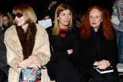(L_R) Editor-in-chief of American Vogue Anna Wintour, Vogue Fashion Editor Virginia Smith and Grace Coddington attend the Rag & Bone Women's FW 2014 show at Skylight at Moynihan Station on February 7, 2014 in New York City.