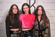 Designers Vanessa Sason and Raisa Sason pose with Victoria Justice (C) backstage for Raisavanessa during New York Fashion Week: The Shows at Gallery I at Spring Studios on February 12, 2020 in New York City.
