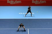 Jamie Murray (L) of Great Britain and Bruno Soares (R) of Brazil compete against their Doubles first round against Divoij Sharan of India and Artem Sitak of New Zealand on day one of the Rakuten Open at Musashino Forest Sports Plaza on October 01, 2018 in Chofu, Tokyo, Japan.