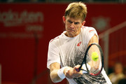 Kevin Anderson of South Africa  plays a backhand in the Singles second round against Frances Tiafoe of the United States on day four of the Rakuten Open at Musashino Forest Sports Plaza on October 4, 2018 in Chofu, Tokyo, Japan.