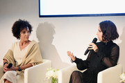 Stephanie Allain (L) and Zoe Lister-Jones speak onstage during Ralph Lauren Fragrances x Women In Film Sisterhood Of Leaders Event on October 24, 2018 in Beverly Hills, California.