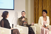 (L-R) Zoe Lister-Jones, Catt Sadler, and Sanaa Lathan speaks onstage during Ralph Lauren Fragrances x Women In Film Sisterhood Of Leaders Event on October 24, 2018 in Beverly Hills, California.