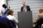 """Former presidential candidate Ralph Nader listens to a question during a news conference July 2, 2012 at Public Citizen in Washington, DC. Nader held a news conference to announce an """"upcoming limited general strike to protest the colonial status of the District of Columbia and to support D.C. statehood."""""""