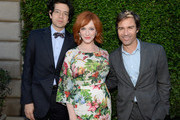 (L-R) Actors Geoffrey Arend, Christina Hendricks and Eric McCormack attend The Rape Foundations Annual Brunch at Greenacres on September 29, 2013 in Beverly Hills, California.