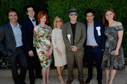 (L-R) Actor Eric McCormack, actor Geoffrey Arend, actress Christina Hendricks, Kimberly Brooks, actor Albert Brooks, actor Josh Radnor, actress Emily Deschanel and president of The Rape Foundation Gail Abarbanel attend The Rape Foundations Annual Brunch at Greenacres on September 29, 2013 in Beverly Hills, California.