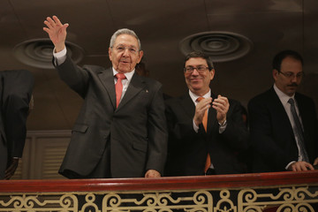 Raul Castro President Obama Delivers Speech at Gran Teatro in Havana