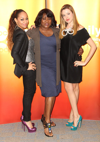"Raven-Symone (L-R) Actresses Raven Symone, Loretta Devine and Majandra Delfino attend the Disney ABC Television Group Host ""May Press Junket 2011"" at ABC Studios on May 14, 2011 in Burbank, California."