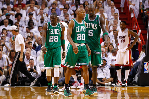 Boston Celtics v Miami Heat - Game Five [basketball player,basketball court,player,team sport,basketball,basketball moves,sports,fan,tournament,product,mickael pietrus,user,ray allen 20,kevin garnett 5,five,l-r,boston celtics,miami heat,court,game]