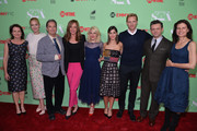 """Actors Caitlin Fitzgerald, Beau Bridges, Allison Janney, Annaleigh Ashford, Lizzy Caplan, Teddy Sears and Michael Sheen arrive to an exclusive conversation with the cast of Showtime's """"Ray Donovan"""" at Leonard H. Goldenson Theatre on April 28, 2014 in North Hollywood, California."""