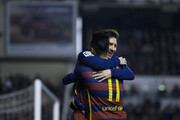 Lionel Messi (R)  of FC Barcelona celebrates scoring their second goal with teammate Neymar JR. (L) during the La Liga match between Rayo Vallecano de Madrid and FC Barcelona at Estadio de Vallecas on March 3, 2016 in Madrid, Spain.