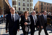 (L-2R) Popular Party deputy Secretary General of organization General Esteban Gonzalez Pons, Popular Party General Secretary Maria Dolores de Cospedal and Popular Party's candidate for the European elections Miguel Arias Canete arrive to the funeral of Isabel Carrasco at the Cathedral of Leon on May 13, 2014 in Leon, Spain. Isabel Carrasco, head of the provincial government in Leon and politician from Spain's People's Party was gunned down on Monday afternoon as she crossed a footbridge on her way to PP party headquarters in Leon city. Police have arrested a woman 55 and a daughter 35. Interior Ministry said that the daughter was fired from her job at the provincial government and the killing could be motivated by revenge. Most of political parties have stopped their Euro election campaign activities for Tuesday.