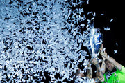 Captain goalkeeper Iker Casillas (R) of Real Madrid CF holds the UEFA Champions cup with teammate Sergio Ramos (L) during the Real Madrid celebration the day after winning the UEFA Champions League Final at Santiago Bernabeu stadium on May 25, 2014 in Madrid, Spain.