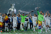 Captain goalkeeper Iker Casillas of Real Madrid CF celebrates with teammates during the Real Madrid celebration the day after winning the UEFA Champions League Final at Santiago Bernabeu stadium on May 25, 2014 in Madrid, Spain.