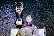 Second captain Sergio Ramos of Real Madrid CF holds the UEFA Champions League cup celebrating their victory on the UEFA Champions League Final match against Club Atletico de Madrid at Cibeles font on the early morning of May, 25, 2014 in Madrid, Spain. Real Madrid CF achieves their 10th European Cup at Lisbon 12 years later.