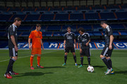 James Rodriguez, Xabi Alonso, Gareth Bale, Iker Casillas and Marcelo of Real Madrid during the Adidas launch of their new Real Madrid C.F. 3rd kit designed by Yohji Yamamoto at Bernabeu on August 26, 2014 in Madrid, Spain.