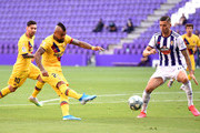 Arturo Vidal of Barcelona scores his team's first goal during the Liga match between Real Valladolid CF and FC Barcelona at Jose Zorrilla on July 11, 2020 in Valladolid, Spain. Football Stadiums around Europe remain empty due to the Coronavirus Pandemic as Government social distancing laws prohibit fans inside venues resulting in all fixtures being played behind closed doors.