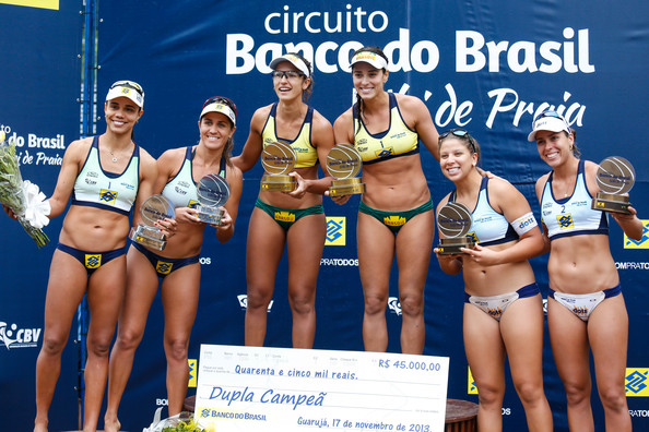 CBBVP Open Beach Volleyball - Final [sports,competition,team sport,competition event,bikini,volleyball,net sports,swimwear,championship,recreation,maria eliza,juliana,lili,rebecca,b\u00e1rbara seixas,agatha,podium,l-r,cbbvp open beach volleyball,final]
