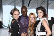 (L-R) Alena Gerber, Papis Loveday, designer Rebekka Ruetz and Marie Nasemann attend the Rebekka Ruetz Fashion Show at Top Mountain Star on April 26, 2014 at Hochgurgl near Solden, Austria.