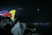 Motorcycle rider Robbie Maddison jumps 378 feet, 9 inches and Snowmobile rider Levi LaVallee jumps 412 feet, 6 inches to both break the current jump during the Red Bull: New Year. No Limits. in San Diego, California.