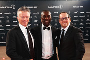 Laureus Academy member Steve Waugh (L) with Clarence Seedorf (C) attend the 2017 Laureus World Sports Awards at the Salle des Etoiles,Sporting Monte Carlo on February 14, 2017 in Monaco, Monaco.