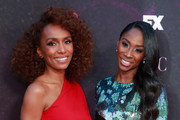 """Janet Mock (L) and Angelica Ross attend the red carpet event for FX's """"Pose"""" at Pacific Design Center on August 09, 2019 in West Hollywood, California."""