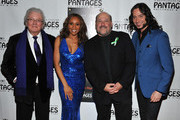 (L-R) Lyricist Leslie Bricusse, singer/cast member Deborah Cox, composer Frank Wildhorn and actor/cast member Constantine Maroulis arrive at the opening night of 'Jekyll & Hyde' held at the Pantages Theatre on February 12, 2013 in Hollywood, California.