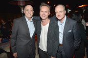 """(L-R) Actor Jeffrey Tambor, Head of Amazon Video Roy Price and actor Bradley Whitford attend the Red Carpet Premiere Screening For Season Two Of Multi-Golden Globe And Emmy Award-Winning Amazon Original Series """"Transparent"""" on November 9, 2015 in Los Angeles, California."""