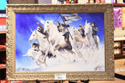 Team Unicorn paintings featuring Olympians seen on display during Red Gerard And Jessie Diggins: Ice Breakers Team Unicorn First Day Back at Hershey's Chocolate World on March 1, 2018 in New York City.