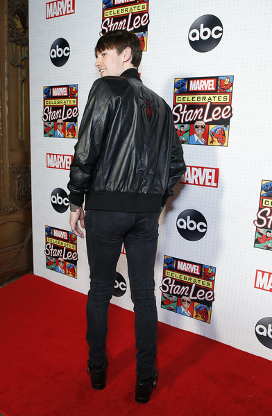 ABC And Marvel Honor Stan Lee [clothing,jacket,carpet,outerwear,leather jacket,leather,red carpet,textile,flooring,jeans,stan lee,reeve carney,marvel honor,honor,new amsterdam theatre,new york city,abc,marvel]