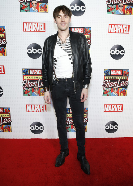 ABC And Marvel Honor Stan Lee [clothing,carpet,red carpet,outerwear,jacket,footwear,leather,flooring,style,stan lee,reeve carney,marvel honor,honor,new amsterdam theatre,new york city,abc,marvel]