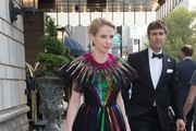 Marissa Mayer is seen leaving the Ritz Carlton hotel heading to the Rei Kawakubo/Comme des Garcons: Art Of The In-Between Costume Institute Gala on May 1, 2017 in New York City.