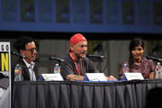 (L-R) Producers Mark Canton and Gianni Nunnari and actress Freida Pinto speak at Relativity Panel during Comic-Con 2011 on July 23, 2011 in San Diego, California.