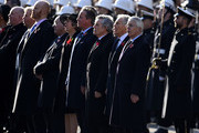 (L-R) Former Prime Ministers Theresa May, David Cameron, Gordon Brown, Tony Blair and John Major take part in the annual Remembrance Sunday memorial at The Cenotaph on November 10, 2019 in London, England. The armistice ending the First World War between the Allies and Germany was signed at Compiegne, France on eleventh hour of the eleventh day of the eleventh month - 11am on the 11th November 1918.
