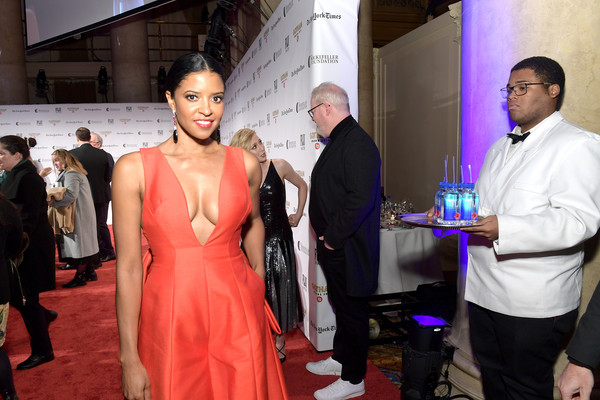 FIJI Water At The 2019 IFP Gotham Awards [event,red,fashion,red carpet,carpet,dress,flooring,ceremony,formal wear,haute couture,fiji water,renee elise goldsberry,ifp gotham awards,new york city,cipriani wall street]