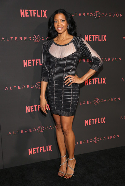 "World Premiere of the Netflix Original Series ""Altered Carbon"" [clothing,cocktail dress,dress,little black dress,fashion,premiere,footwear,shoulder,leg,fashion model,ren\u00e9e elise goldsberry,netflix original series ``altered carbon,california,los angeles,world premiere]"