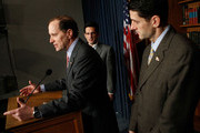 U.S. Rep. Dave Camp (R-MI) (L) speaks as House Minority Whip Rep. Eric Cantor (R-VA) (C) and Rep. Paul Ryan (R-WI) (R) listen during a news conference on the health care legislation March 19, 2010 on Capitol Hill in Washington, DC. The House will vote on the Health Care Reform Legislation on Sunday.