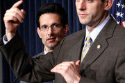 U.S. Rep. Paul Ryan (R-WI) (R) speaks as House Minority Whip Rep. Eric Cantor (R-VA) (L) listens during a news conference on the health care legislation March 19, 2010 on Capitol Hill in Washington, DC. The House will vote on the Health Care Reform Legislation on Sunday.