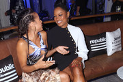 Actors Dania Ramirez and Garcelle Beauvais attend Republic Records 2015 VMA after party at Ysabel on August 30, 2015 in West Hollywood, California.