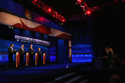Presidential candidates Louisiana Governor Bobby Jindal (L-R), Rick Santorum, George Pataki, and Sen. Lindsey Graham (R-SC) take part in the CNBC Republican Presidential Debate at University of Colorado's Coors Events Center October 28, 2015 in Boulder, Colorado.  Fourteen Republican presidential candidates are participating in the third set of Republican presidential debates.