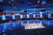 Republican presidential candidates (L-R) former U.S. Senator Rick Santorum (R-PA), Texas Gov. Rick Perry, former Massachusetts Gov. Mitt Romney, former Speaker of the House Newt Gingrich, U.S. Rep. Ron Paul (R-TX), U.S. Rep. Michele Bachmann (R-MN), and former Utah Governor Jon Huntsman Jr. are introduced for the Fox News Channel debate at the Sioux City Convention Center on December 15, 2011 in Sioux City, Iowa. The GOP contenders are in the final stretch of campaigning in Iowa where the January 3rd caucus is the first test the candidates must face before becoming the Republican presidential nominee.