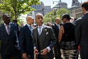 Rev. Al Sharpton exits a press conference after speaking to the press after meeting with Department of Justice officials, June 21, 2017 in the Brooklyn borough of New York City. The family was expected to receive a status report on the progress of the civil rights investigation into Eric Garner's police-involved choking death.