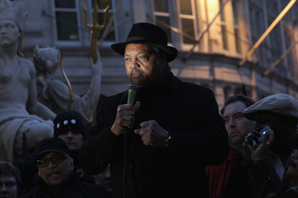 Reverend Jessie Jackson Speaks With Members Of The Occupy London Protest At St Paul's Cathedral