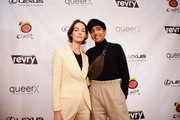 Brigette Lundy-Paine (L) and honoree Nik Dodani attend the closing night gala and Visibility Awards during Revry's 4th Annual QueerX Festival at The London West Hollywood on June 02, 2019 in West Hollywood, California.